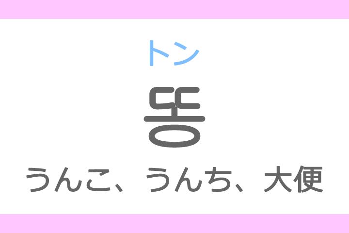 똥(トン)の意味「うんこ、うんち、大便、糞」ハングル読み方・発音