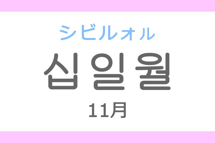 십일월(シビルォル)の意味「11月、十一月(じゅういちがつ)」ハングル読み方・発音