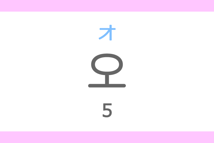 오(オ)の意味「5、五(ご)」ハングル読み方・発音