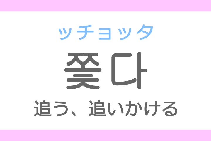 쫓다(ッチョッタ)の意味「追う(おう)、追いかける」ハングル読み方・発音